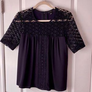 Ann Taylor navy knit & lace blouse, Size S